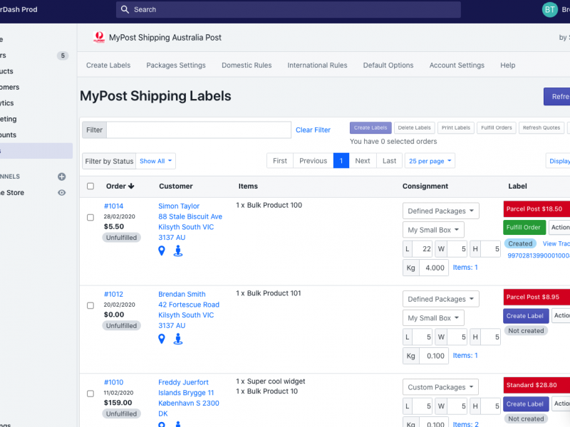 MyPost Shipping Shopify app updates July 2020